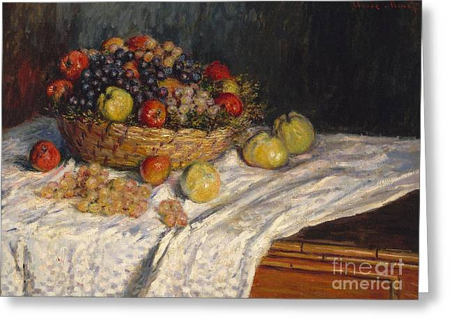 Apples And Grapes Greeting Card by Claude Monet