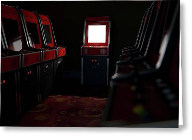 Arcade Aisle With One Illuminated  Greeting Card
