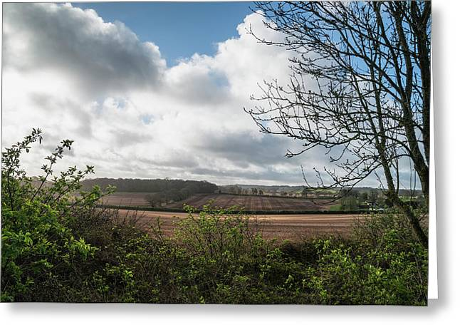 Beautiful Agricultural English Countryside Landscape During Earl Greeting Card