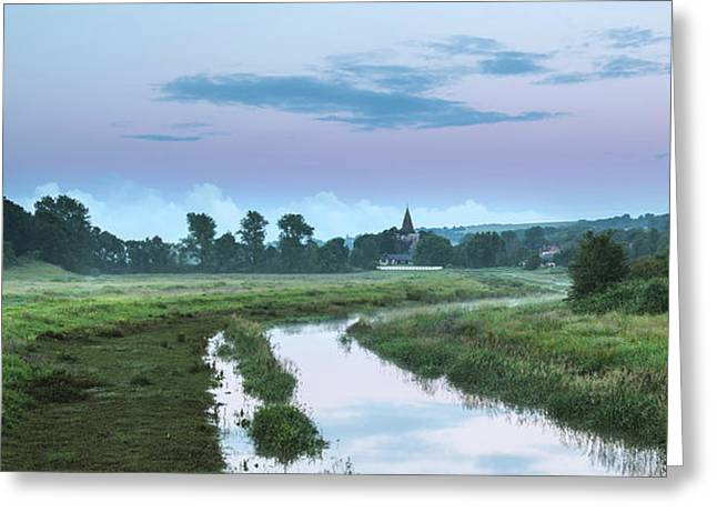 Beautiful Vibrant Summer Sunrise Over English Countryside Landsc Greeting Card by Matthew Gibson