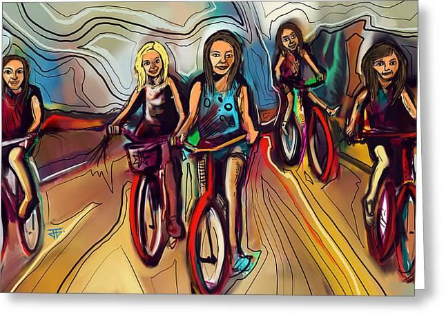 5 Bike Girls Greeting Card