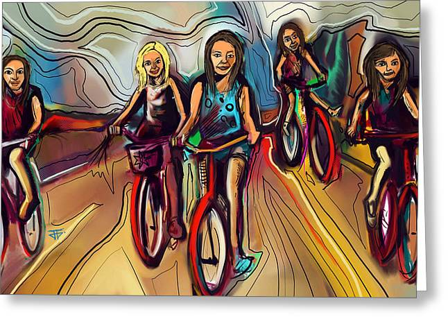 5 Bike Girls Greeting Card