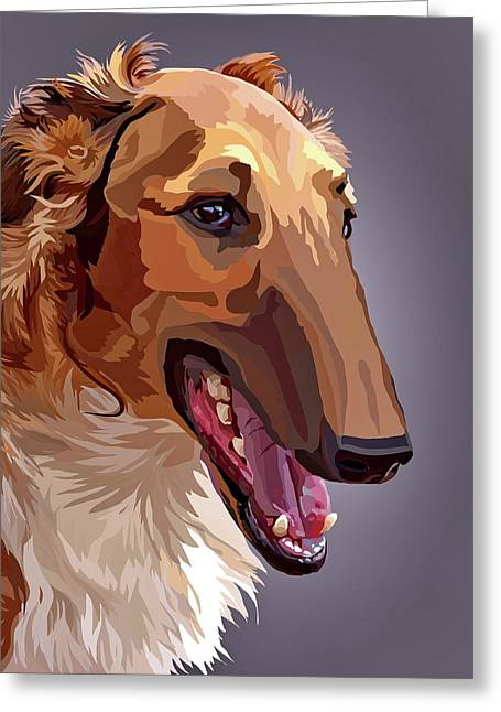 Borzoi Greeting Card by Alexey Bazhan
