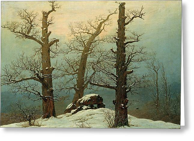 Cairn In Snow Greeting Card by Caspar David Friedrich