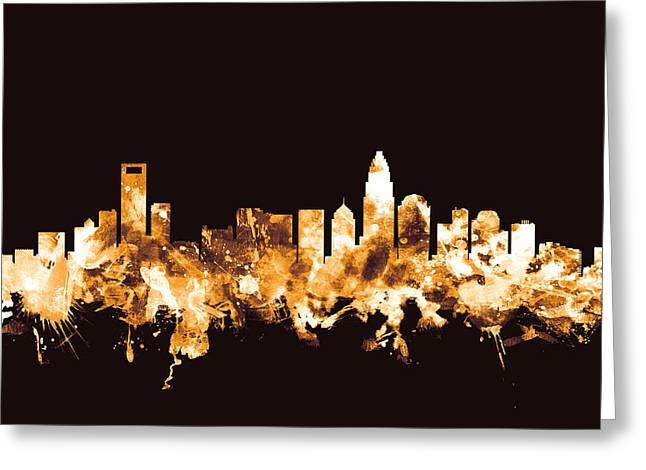Charlotte North Carolina Skyline Greeting Card