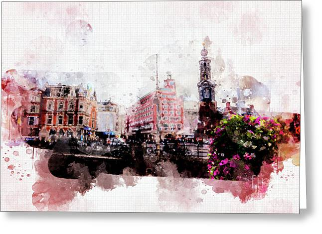 Greeting Card featuring the digital art City Life In Watercolor Style  by Ariadna De Raadt