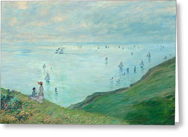 Cliffs At Pourville Greeting Card by Claude Monet