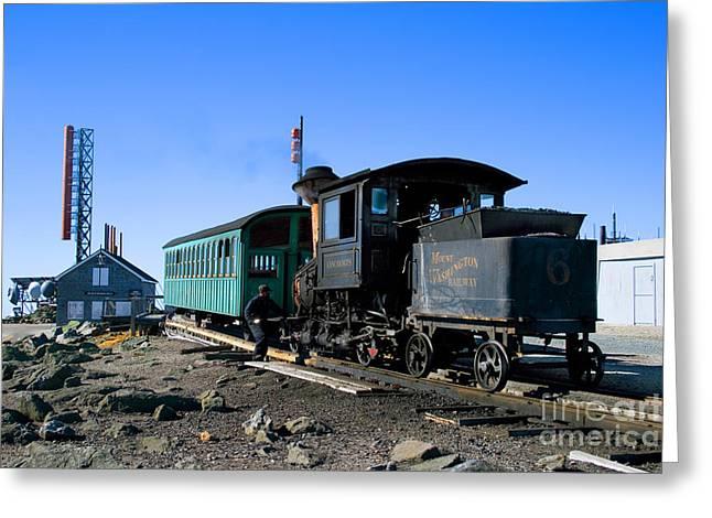 Cog Railway, Mount Washington, Nh Greeting Card by Larry Landolfi