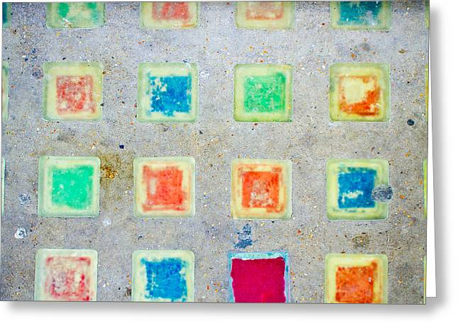 Colorful Tiles Greeting Card by Tom Gowanlock