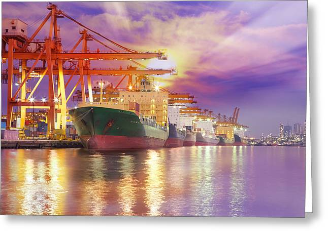Container Cargo Freight Ship  Greeting Card by Anek Suwannaphoom