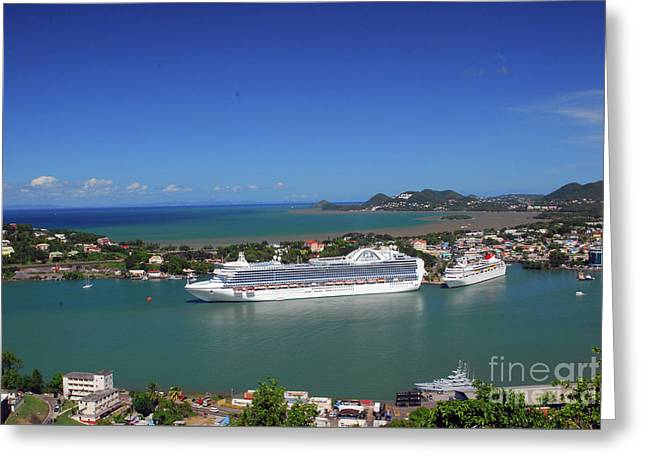Greeting Card featuring the photograph Cruise Ship In Port by Gary Wonning