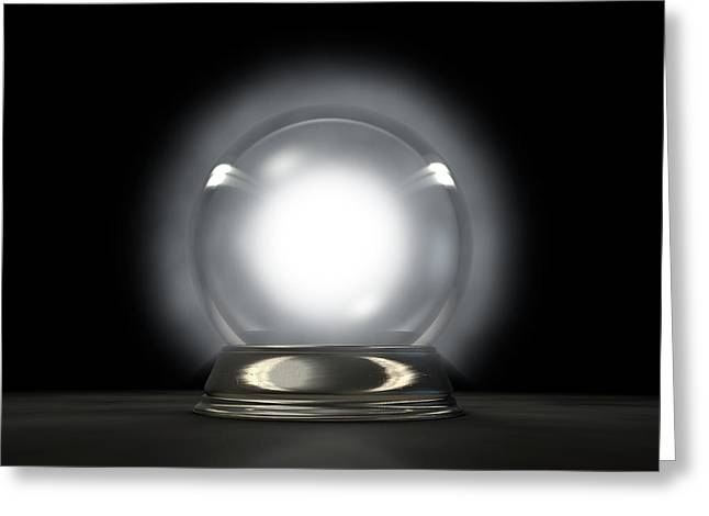 Crystal Ball Glowing Greeting Card by Allan Swart