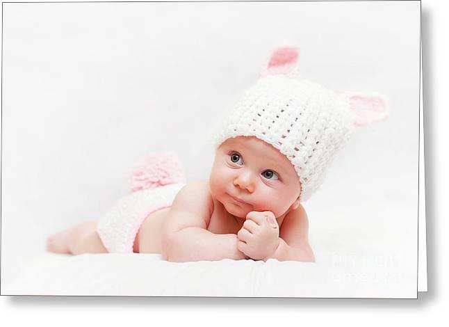 Cute Newborn Portrait Greeting Card by Gualtiero Boffi
