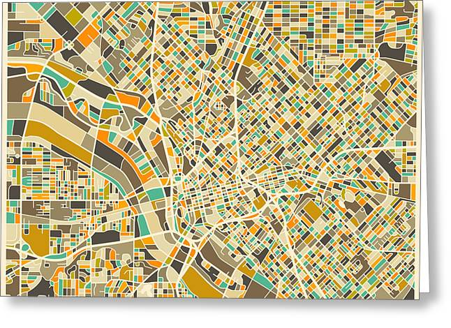 Dallas Map Greeting Card by Jazzberry Blue