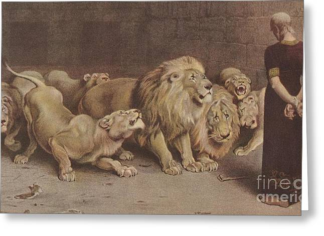 Daniel In The Lions Den Greeting Card by MotionAge Designs