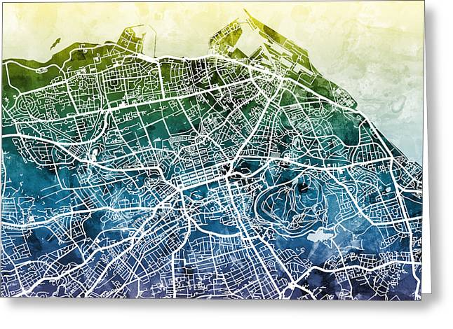 Edinburgh Street Map Greeting Card by Michael Tompsett