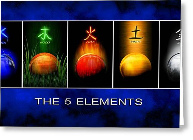 Greeting Card featuring the digital art Asian Art 5 Elements Of Tcm by John Wills