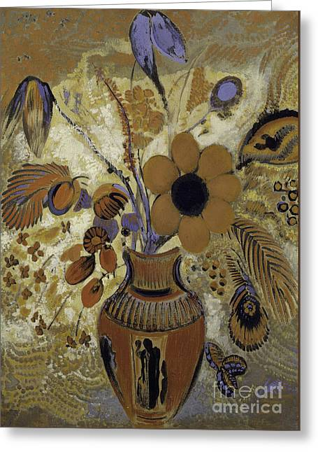 Etruscan Vase With Flowers Greeting Card by Odilon Redon