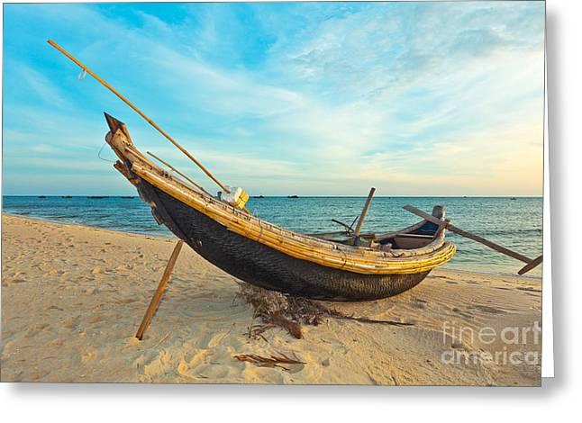 Fisherman Boat Greeting Card by MotHaiBaPhoto Prints