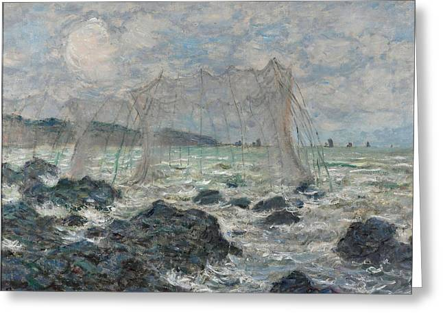 Fishing Nets At Pourville Greeting Card by Claude Monet