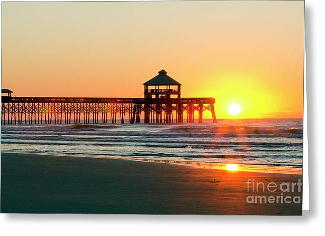 Ocean. Reflection Greeting Cards - Folly Beach Pier Sunrise Greeting Card by Dustin K Ryan