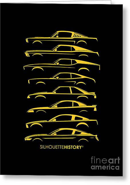 Ford Mustang Silhouettehistory Greeting Card by Gabor Vida