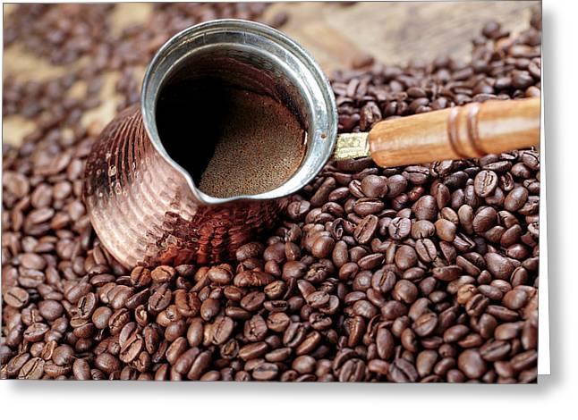 Fresh Roasted Coffe Beans Greeting Card