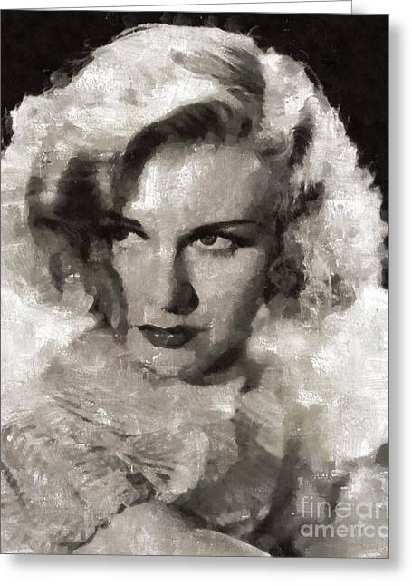 Ginger Rogers Hollywood Actress And Dancer Greeting Card by Mary Bassett