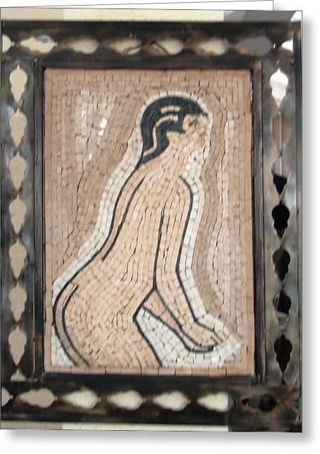 Girl In Stone Mosaic Greeting Card by Petrit Metohu