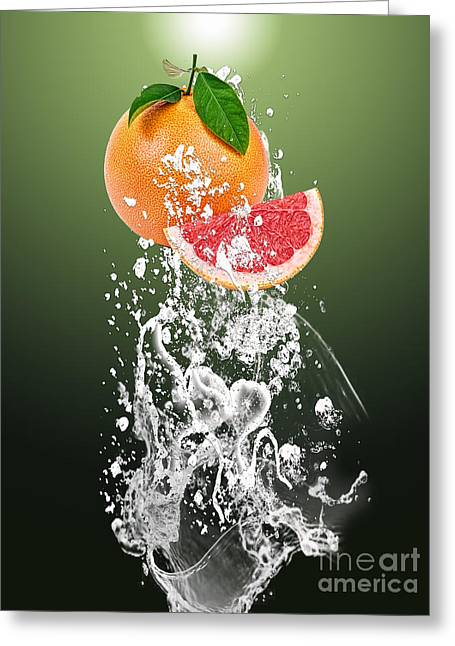 Grapefruit Splash Greeting Card by Marvin Blaine