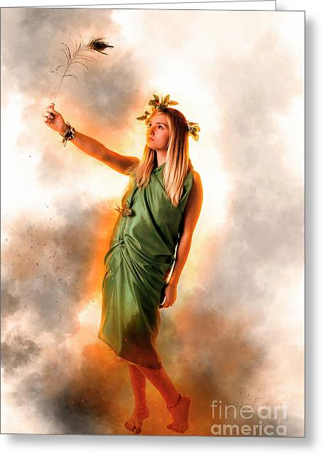 Greek Goddess In Green Greeting Card