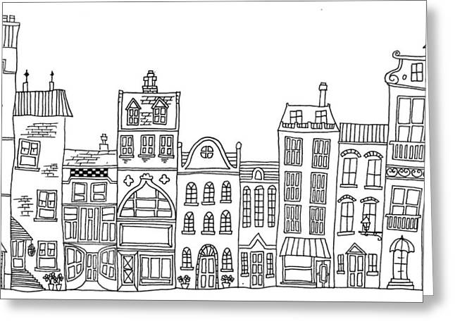 Hand Drawn Line Drawings Of Various Whimsical Houses Shops And B Greeting Card