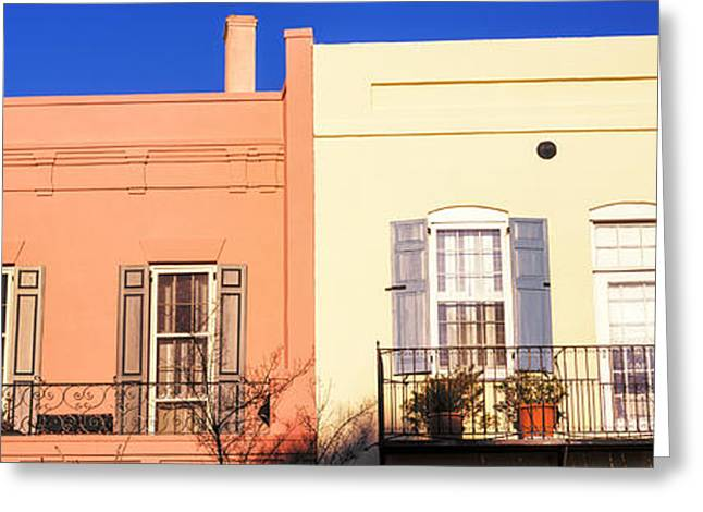 Historic Houses In Rainbow Row Greeting Card by Panoramic Images