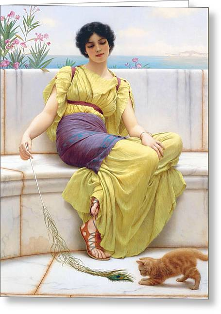 Idleness Greeting Card by John William Godward