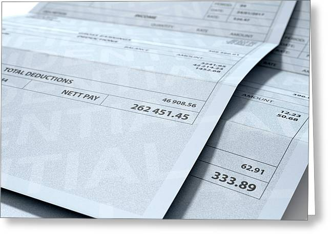 Income Inequality Paychecks Greeting Card