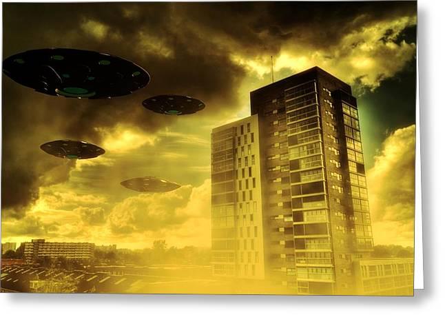 Invasion Earth By Raphael Terra Greeting Card by Raphael Terra