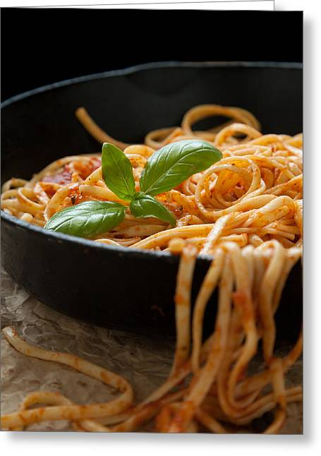 Linguine With Basil And Red Sauce In Cast Iron Pan Greeting Card by Erin Cadigan