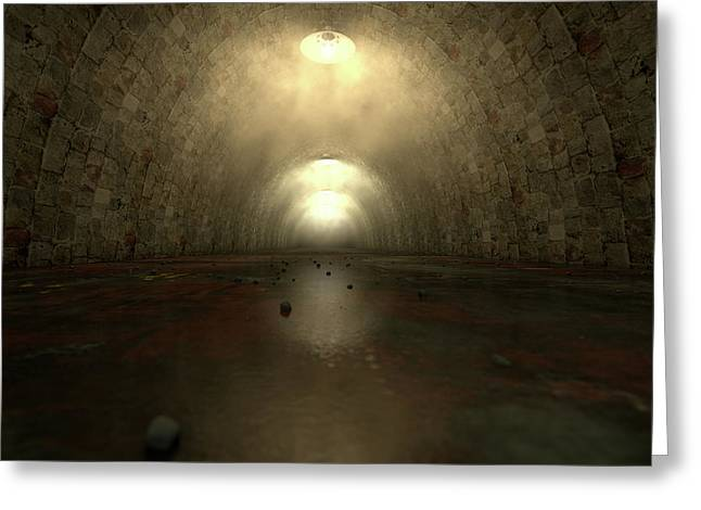 Long Tunnel Lights Greeting Card by Allan Swart