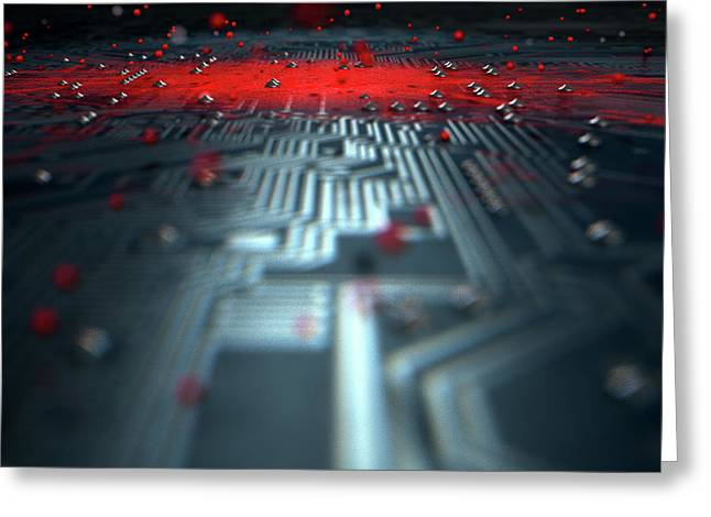 Macro Circuit Board Infection Greeting Card by Allan Swart