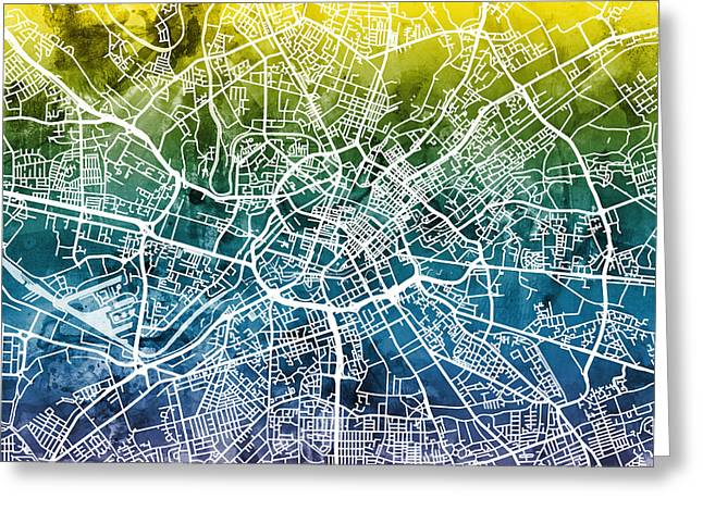 Manchester England Street Map Greeting Card