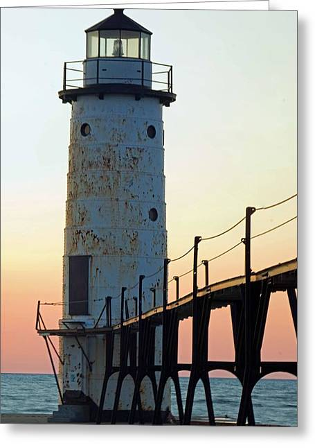 Manistee Michigan Lighthouse And Pier Greeting Card