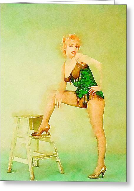 Marilyn Pinup By Frank Falcon Greeting Card