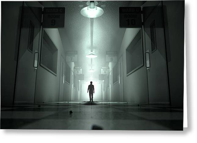 Mental Asylum With Ghostly Figure Greeting Card