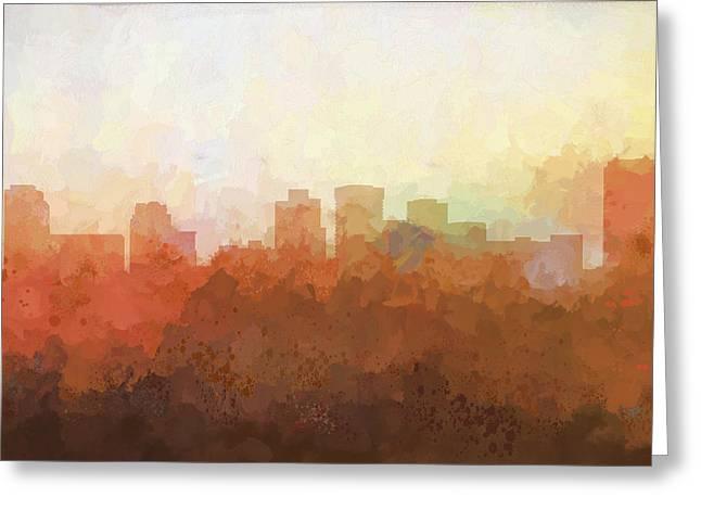 Greeting Card featuring the digital art Norfolk Virginia Skyline by Marlene Watson