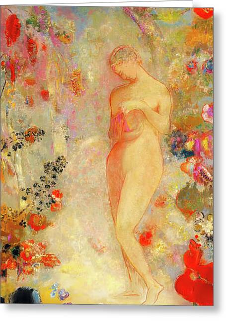 Greeting Card featuring the painting Pandora by Odilon Redon