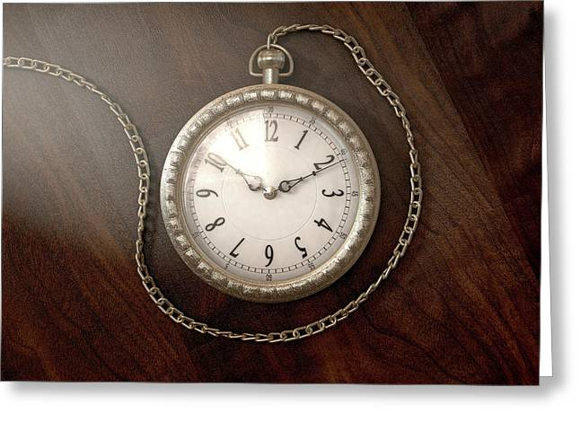Pocket Watch On Chain Greeting Card by Allan Swart