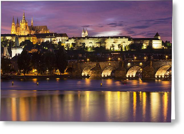 Prague Castle And Charles Bridge Greeting Card by Andre Goncalves