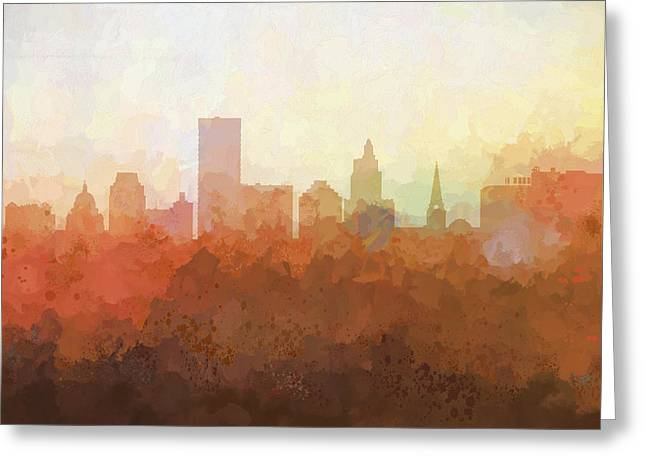 Greeting Card featuring the digital art Providence Rhode Island Skyline by Marlene Watson