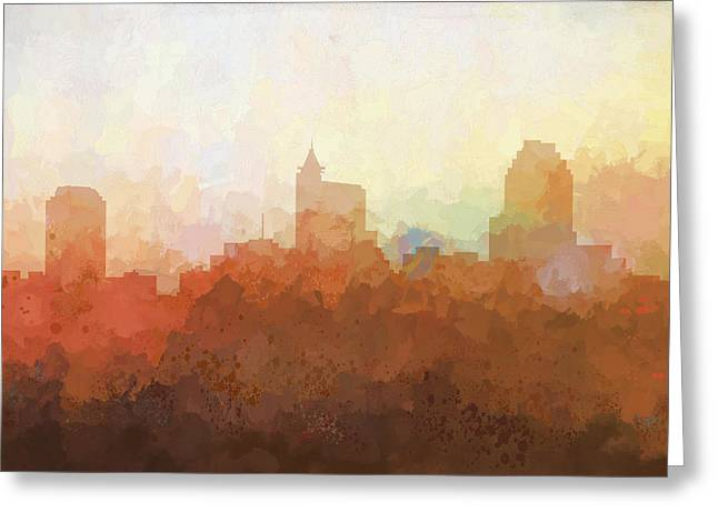 Greeting Card featuring the digital art Raleigh North Carolina Skyline by Marlene Watson