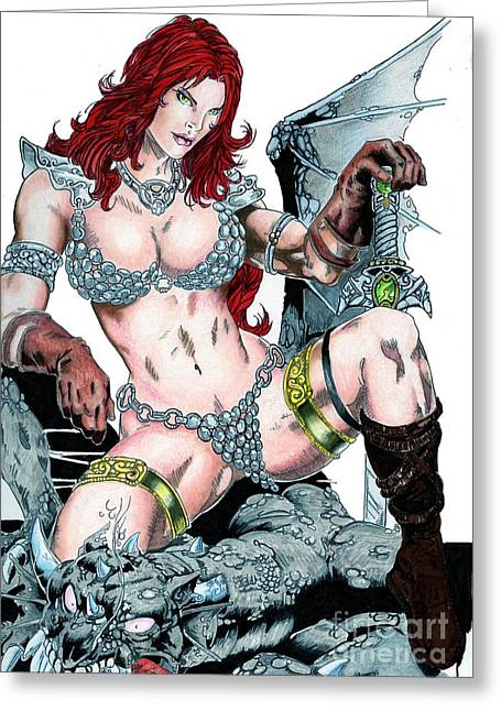 Red Sonja Greeting Card by Bill Richards